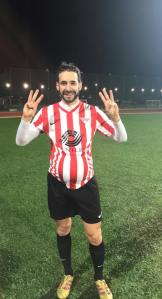 Hat Trick scorer Andrew celebrates post match