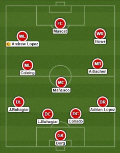 United line up in a 4-3-3
